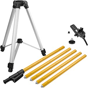 Firecore 12 Ft./3.7M Professional Telescoping Pole with Tripod and 1/4-Inch by 20-Inch Laser Mount for Rotary and Line Lasers, Adjustable Laser Mounting Pole with 5/8