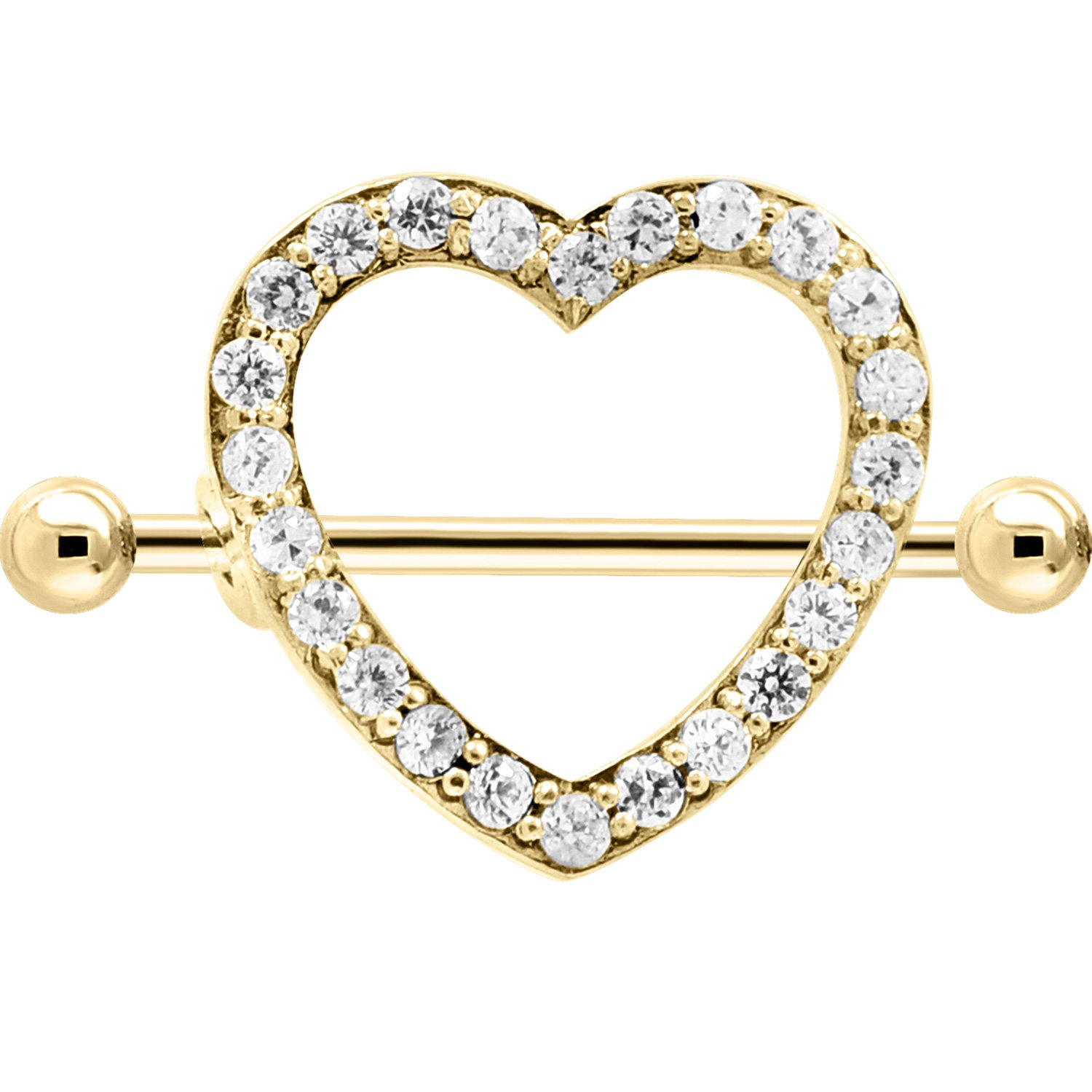 14K Gold Externally Threaded Nipple Shield 14K White Gold Priced And Sold Individually Mr.Piercing Nipple Rings pr/_sku/_208570