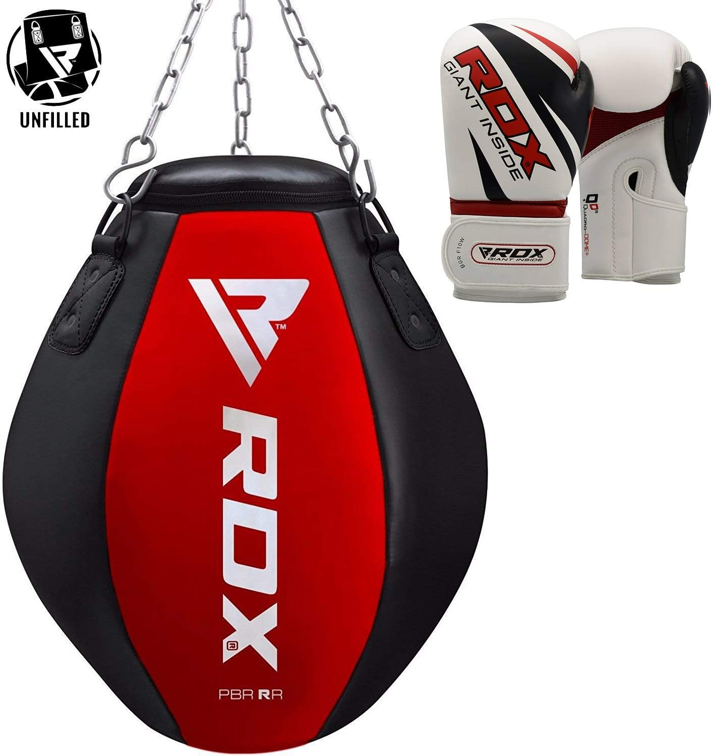 TMS Leather Boxing Gloves Professional MMA Sparring Punch Bag Training Fight RED