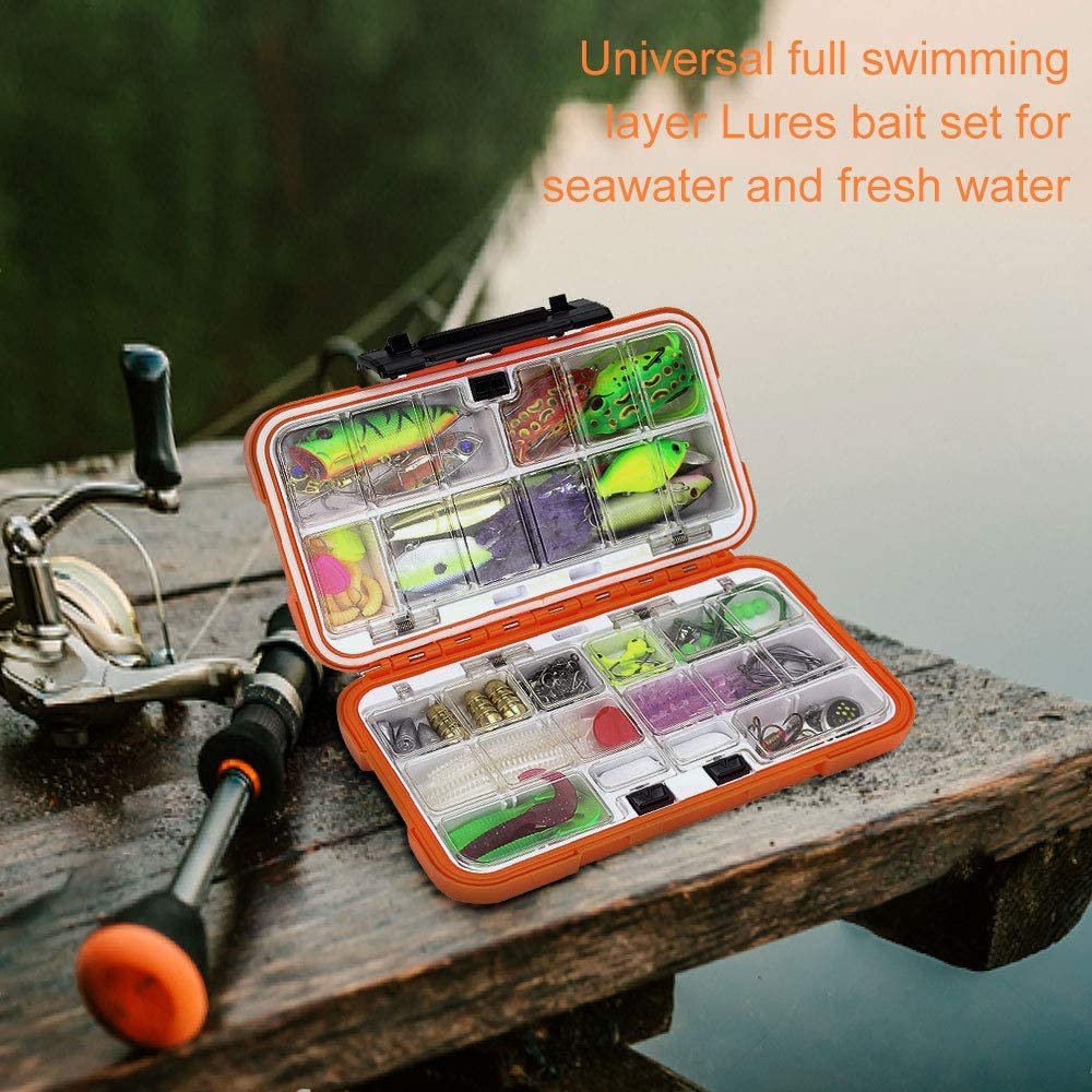 103pcs//141pcs Fishing Bait Kit Including Soft and Hard Lures Fishing Lure Set with Fishing Tackle Box Suitable for all Salt Water and Fresh Water Lurowo Fishing Lures Mixed Hooks Jig Head