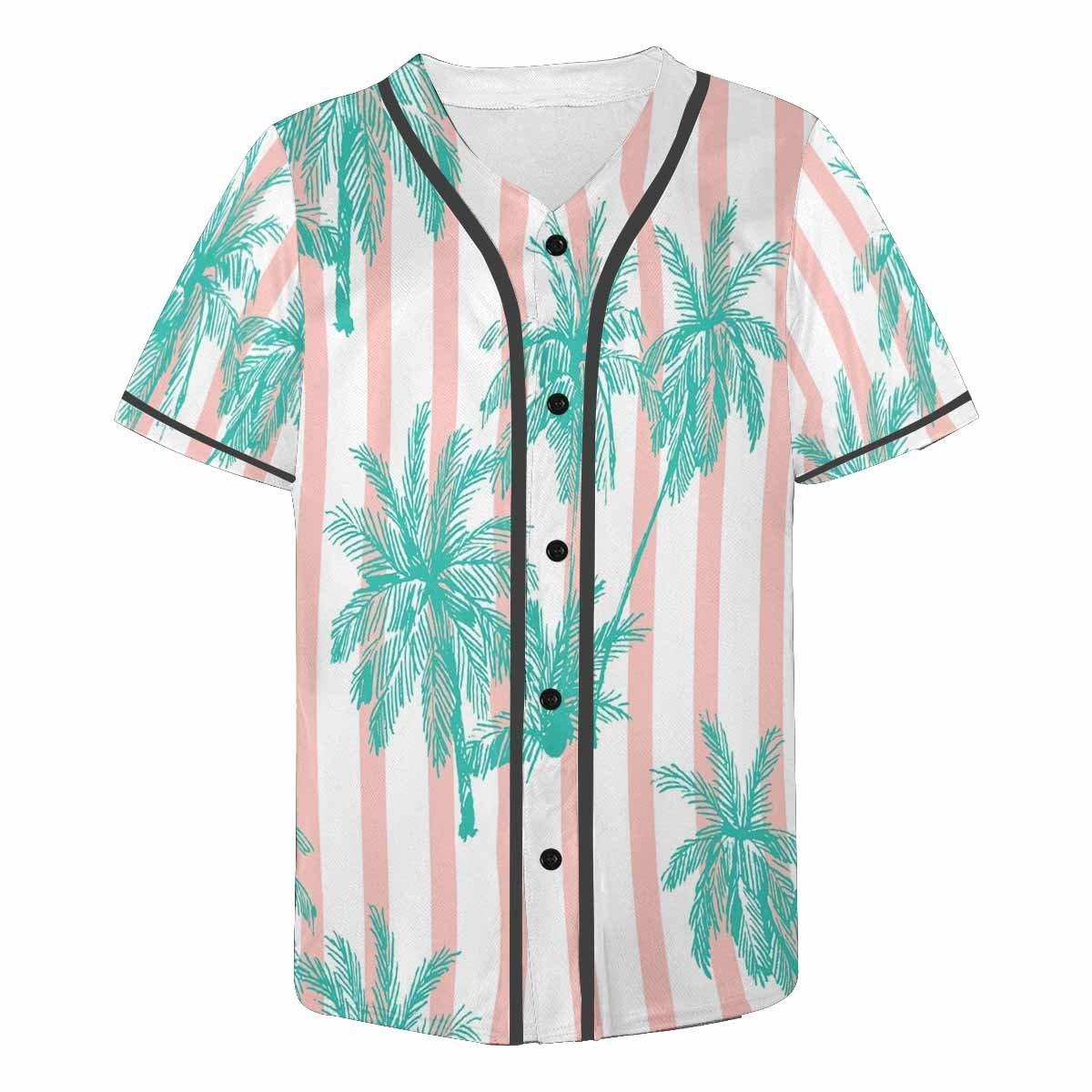 INTERESTPRINT Mens Button Down Baseball Jersey Palm Trees