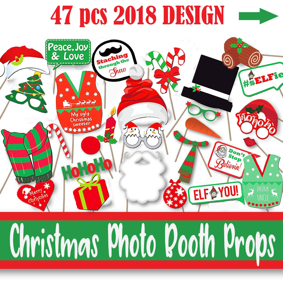 Christmas Theme Party Ideas For Family.Christmas Party Photo Booth Props Gifts Knit 47 Ugly