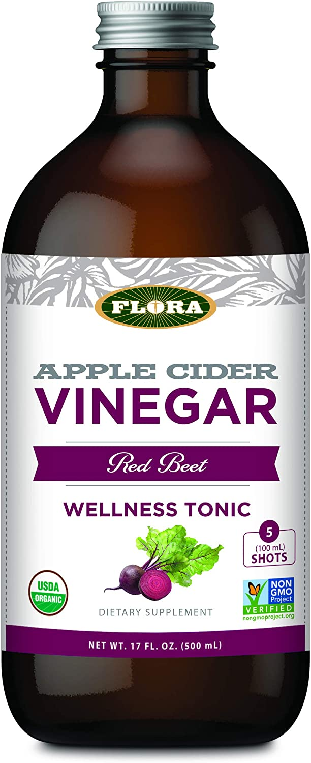 Flora Large Organic Apple Cider Vinegar Shots, Red Beet & Herbs, 17 Ounce