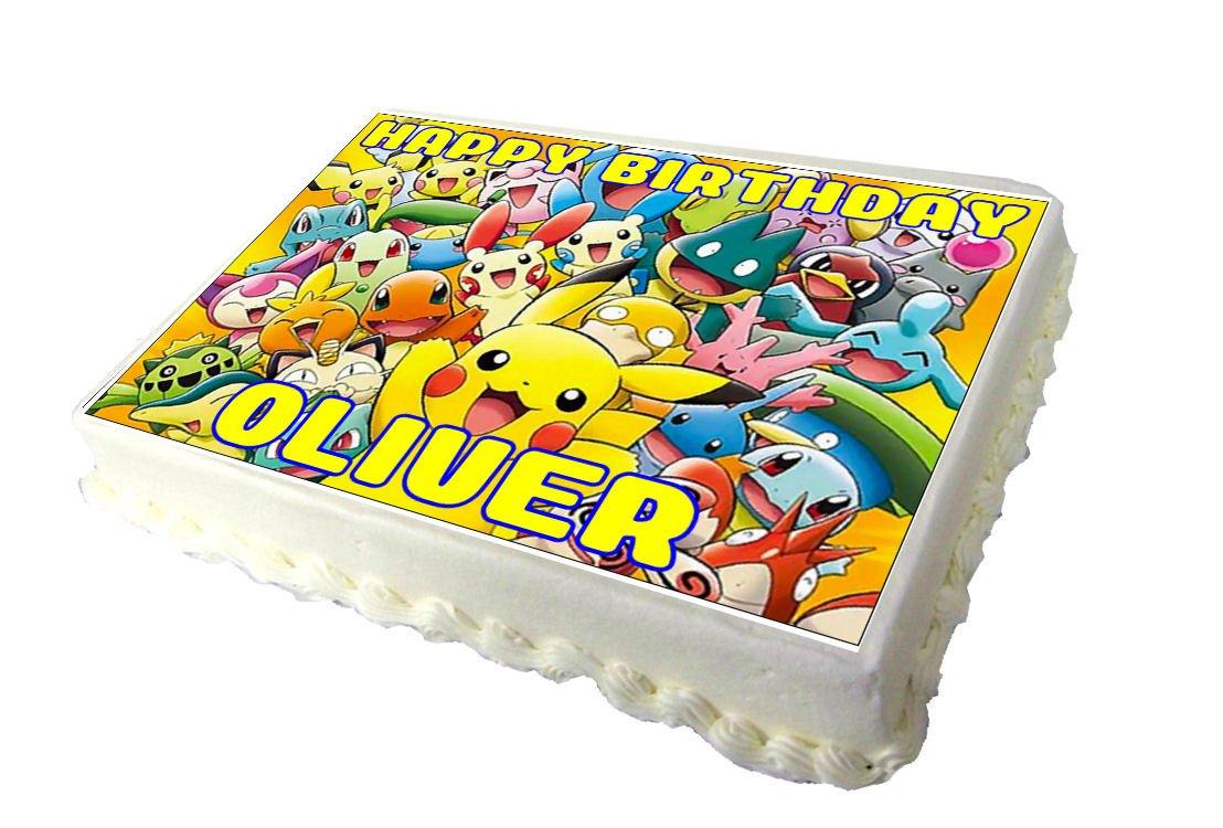 pikachu pokemon edible a4 birthday cake topper amazon co uk grocery