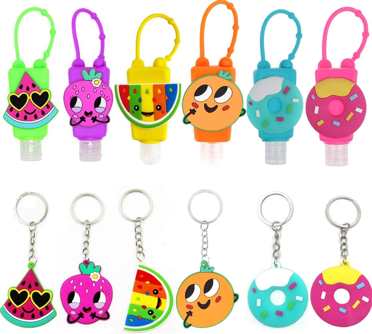 6PCS Kids Hand Sanitizer Holder Flip Cap Reusable Portable Empty Travel Size Bottle, 6PCS Food Keychains, with Silicone Case Refillable Travel Containers, Liquid Soap, Lotion Christmas