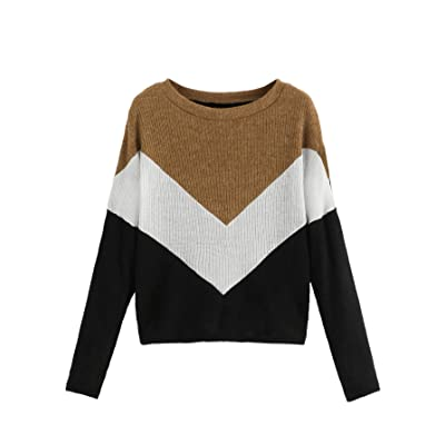 SweatyRocks Women's Long Sleeve Round Neck Colorblock Pullover Sweater Top at Amazon Women's Clothing store