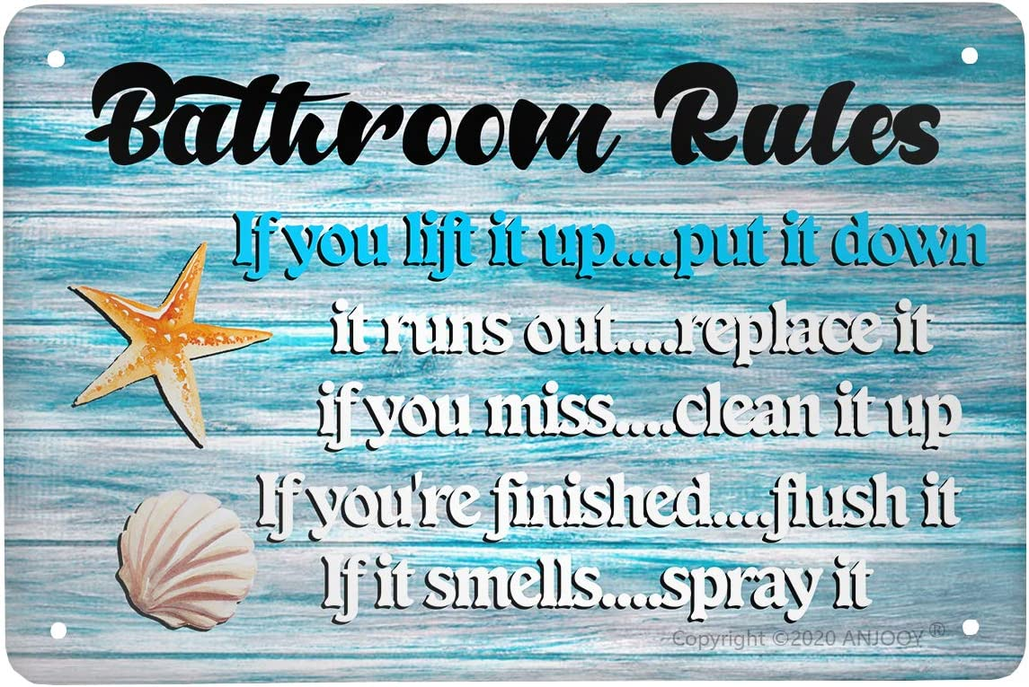 ANJOOY Retro Tin Signs Vintage Metal Sign Bathroom Rules Sea Shell Plaque Poster for Home Coffee Funny Wall Decor Art 8 X 12 Inch