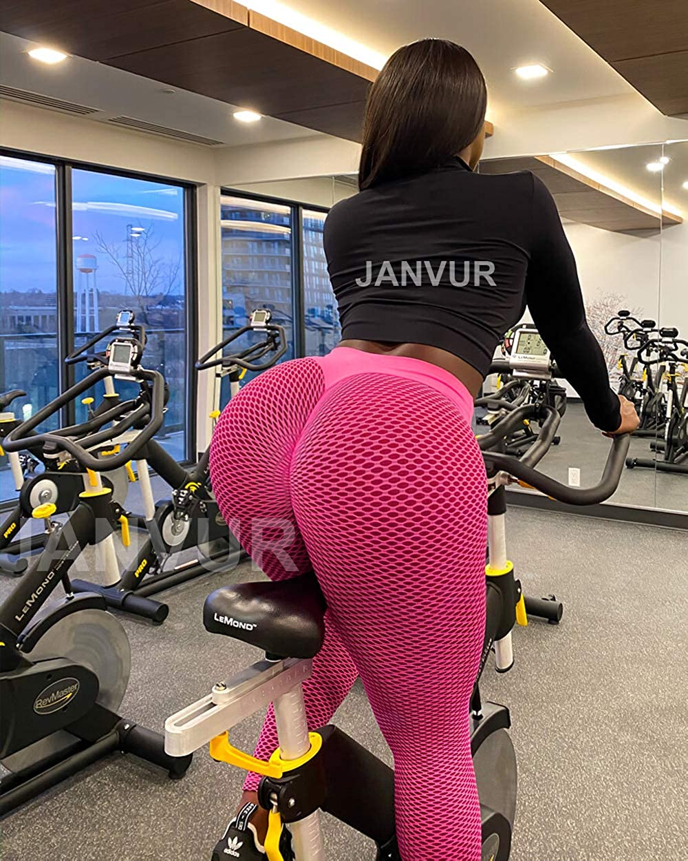 JANVUR Womens Anti/Cellulite Ruched Butt Lifting Leggings Booty Lifting Pants High Waist Textured Workout Tights