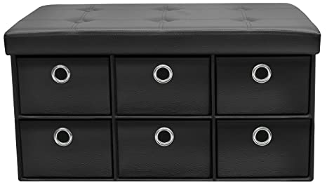 Sorbus Storage Ottoman Bench with 6 Drawers – Collapsible Folding Bench  Chest with Cover – Perfect for Entryway, Bedroom, Cubby Drawer Footstool,  ...