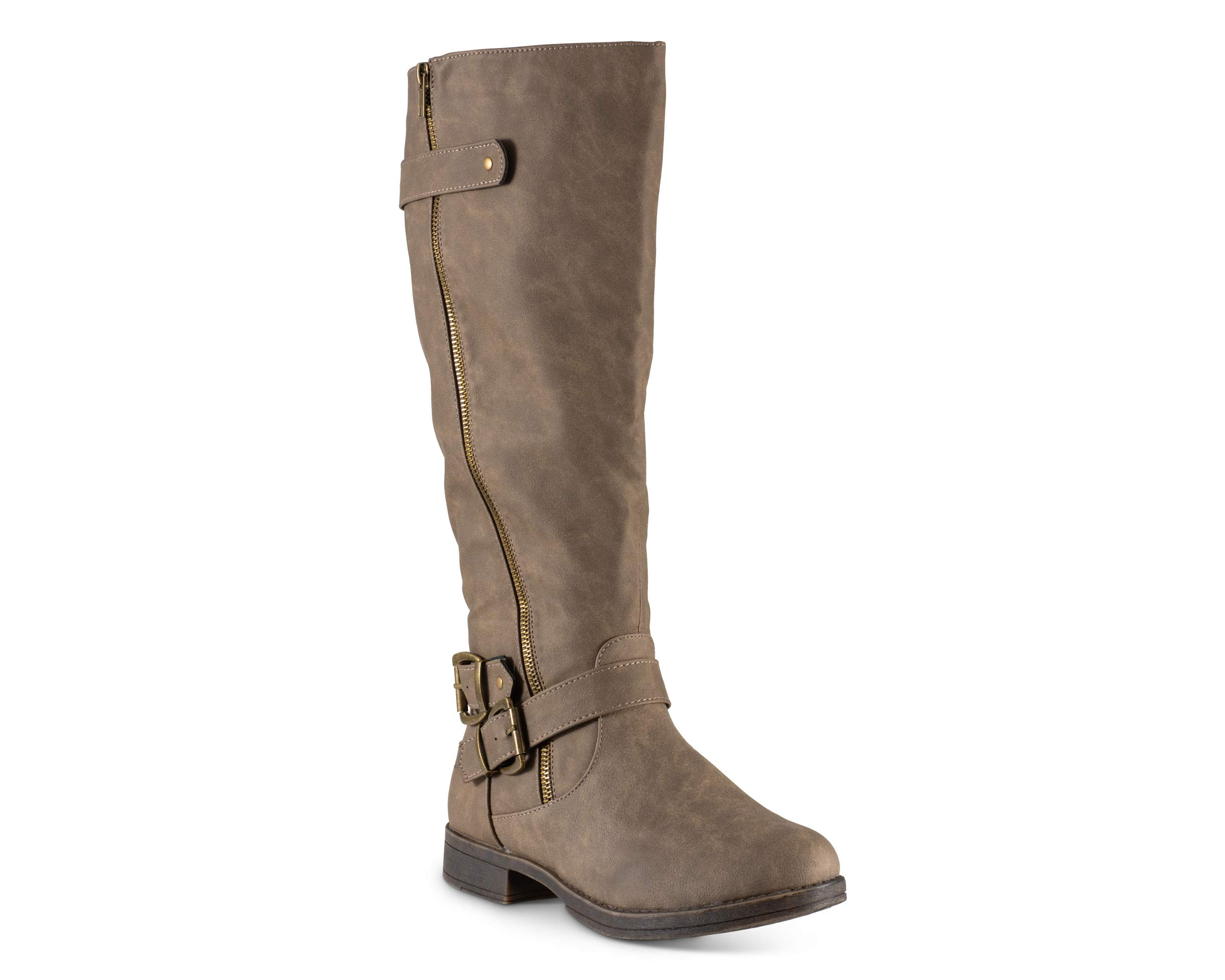 Twisted Women's Amira Wide Width Asymetrical Zip-Up Knee High Riding Boot- Mocha, Size 8