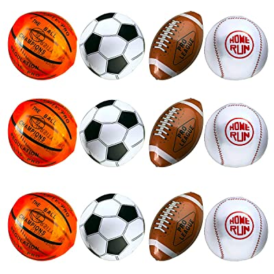 "12-Pack 16"" Inflatable Sport Beach Balls - 3x Basketballs, 3x Baseballs, 3x Footballs, 3x Soccer Balls, Sports Party Decorations and Party Favors for Parties, 12 Safe & Strong Super Fun Inflated Toys: Toys & Gam"