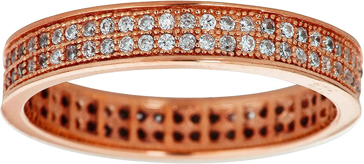 Sterling Silver 2 Row Micropave Eternity Band Stackable Ring