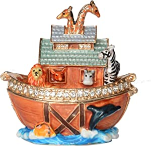 Noah's Ark Trinket Box Hinged Hand-Painted Enameled Figurine Collectible Jewelry Box Ring Holder,Unique Gift for Home Decor