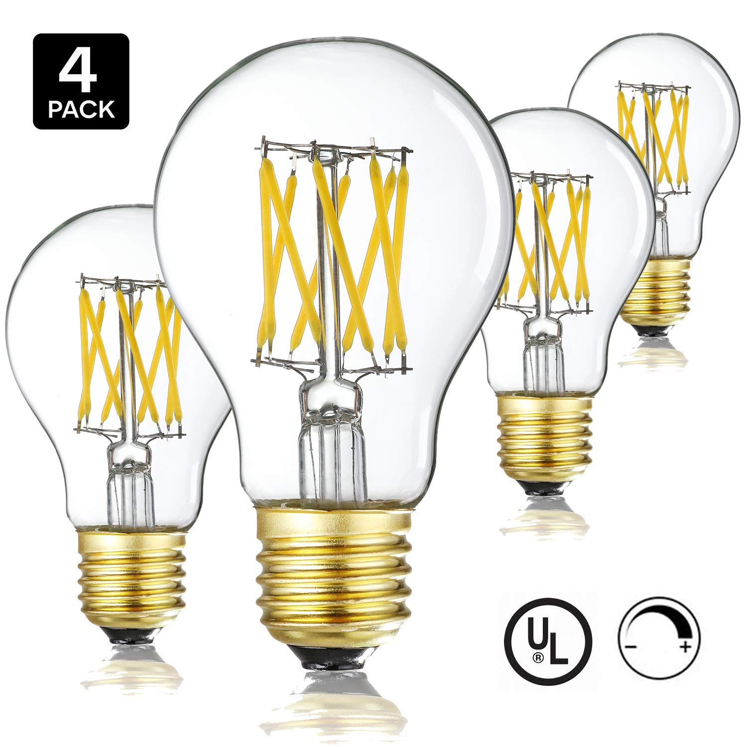 Leools 8W Edison Style Vintage LED Filament Light Bulb, 75W Incandescent Replacement, Daylight Glow 4000K, 800LM, E26 Medium Base Lamp, A19(A60) Antique Shape, Clear Glass Cover, Dimmable(4-Pack)