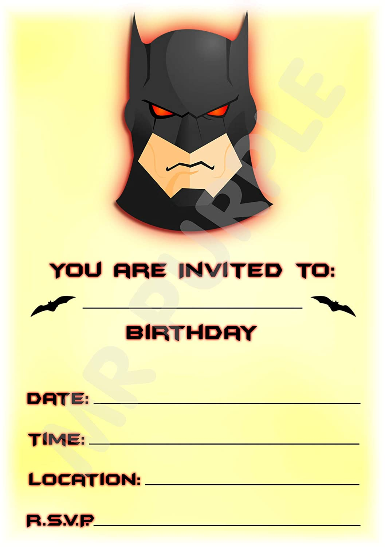 Superhero Batman invitaciones de fiesta de cumpleaños ...