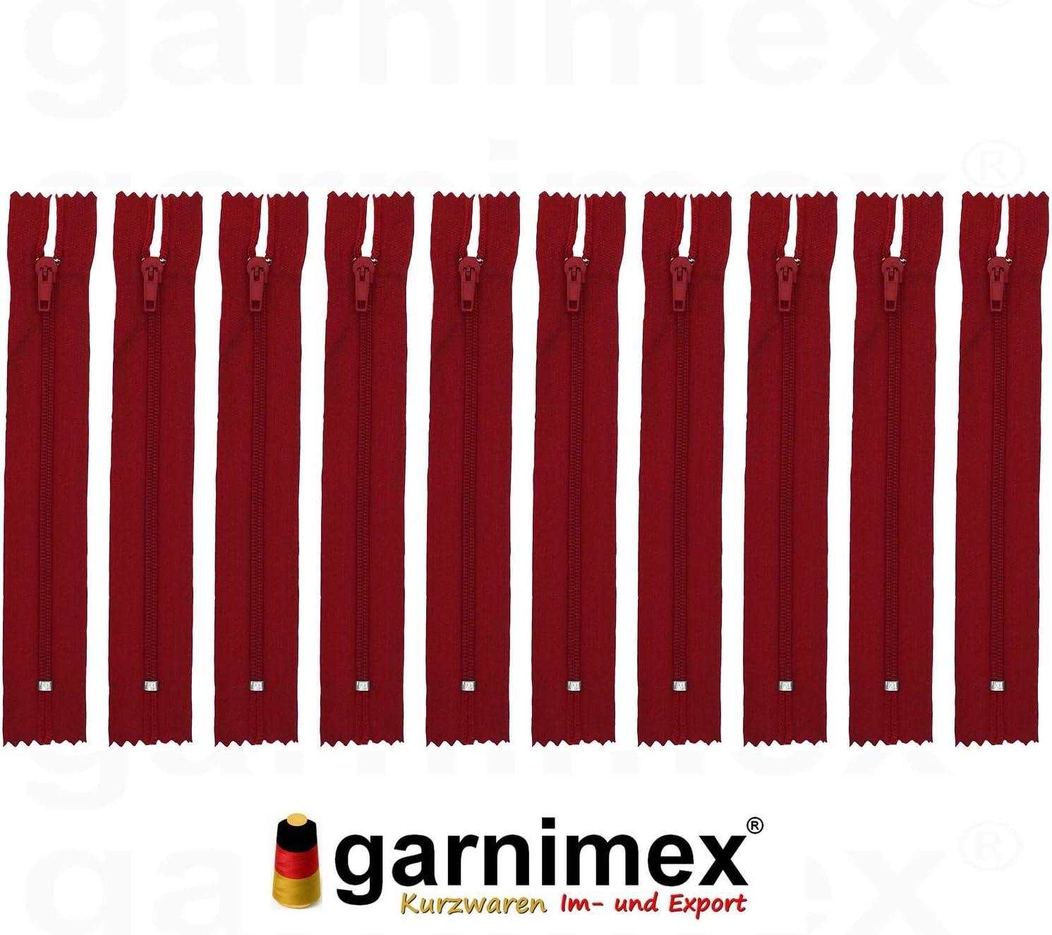 garnimex Lot de 10 Fermetures /Éclair 40 cm x 10 Couleurs 19 Rouge tomates Assorties