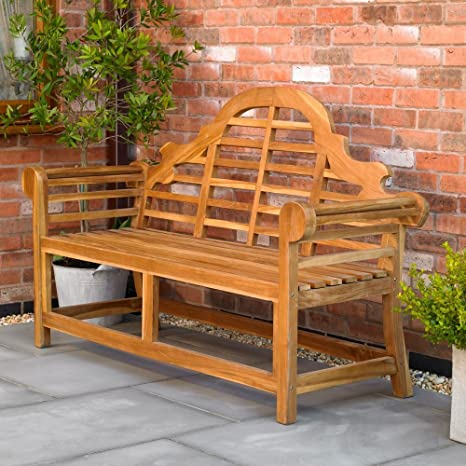 Swell Kingfisher Fswset13 Ornately Curved Teak Bench Outdoor Garden Furniture Transparent One Size Squirreltailoven Fun Painted Chair Ideas Images Squirreltailovenorg
