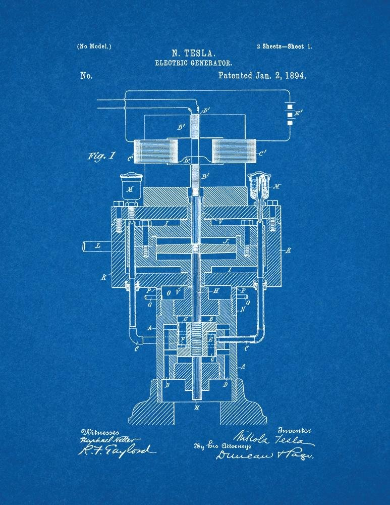 Amazon tesla electric generator patent print art poster amazon tesla electric generator patent print art poster blueprint 85 x 11 posters prints malvernweather