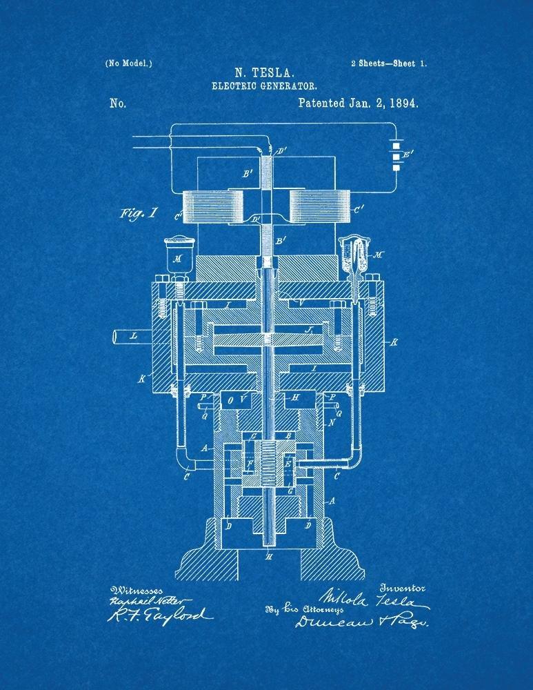Amazon tesla electric generator patent print art poster amazon tesla electric generator patent print art poster blueprint 85 x 11 posters prints malvernweather Images