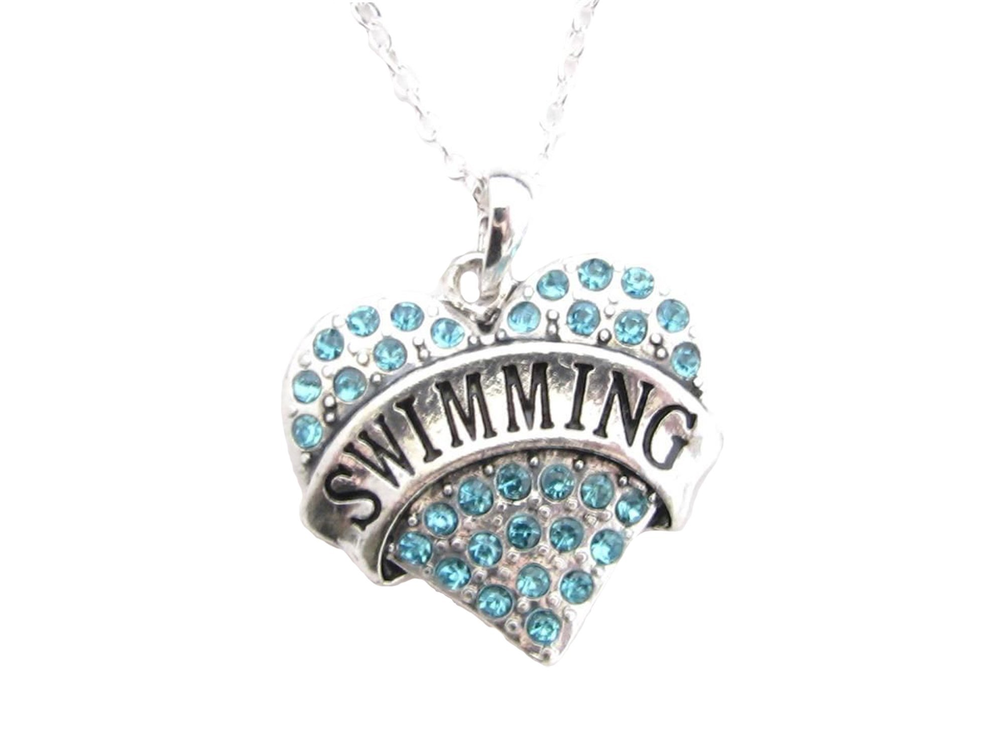 Swimming Silver Chain Necklace Blue Crystal Heart Pendant Jewelry Swimmer Swim