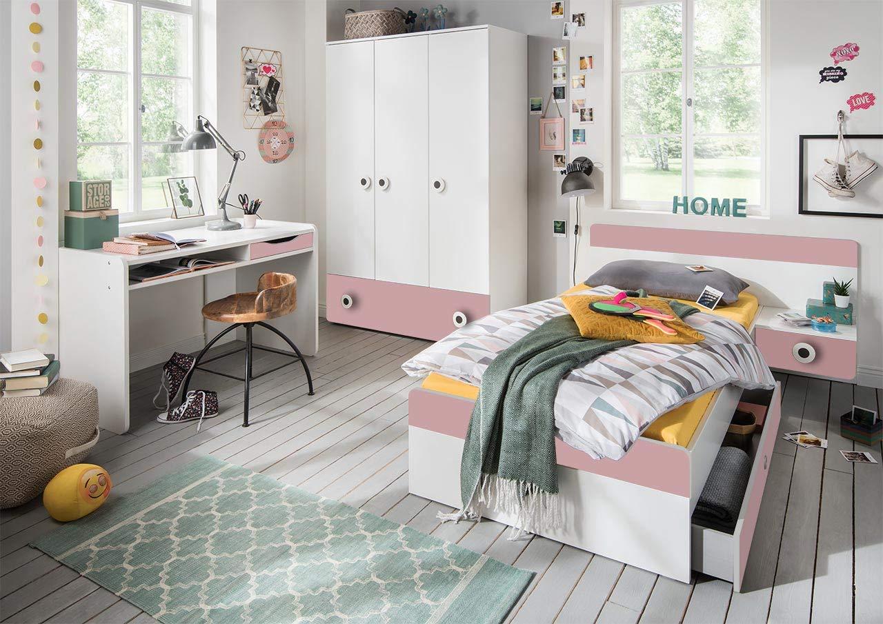 lifestyle4living Jugendzimmer Komplett-Set in weiß und rosa, modernes Kinderzimmer für Mädchen, 3-TLG. zeitlos