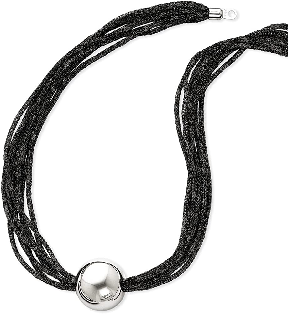 Jewelry Necklaces Cords with Pendants Sterling Silver Beaded Satin Mesh Black Rhodium Necklace