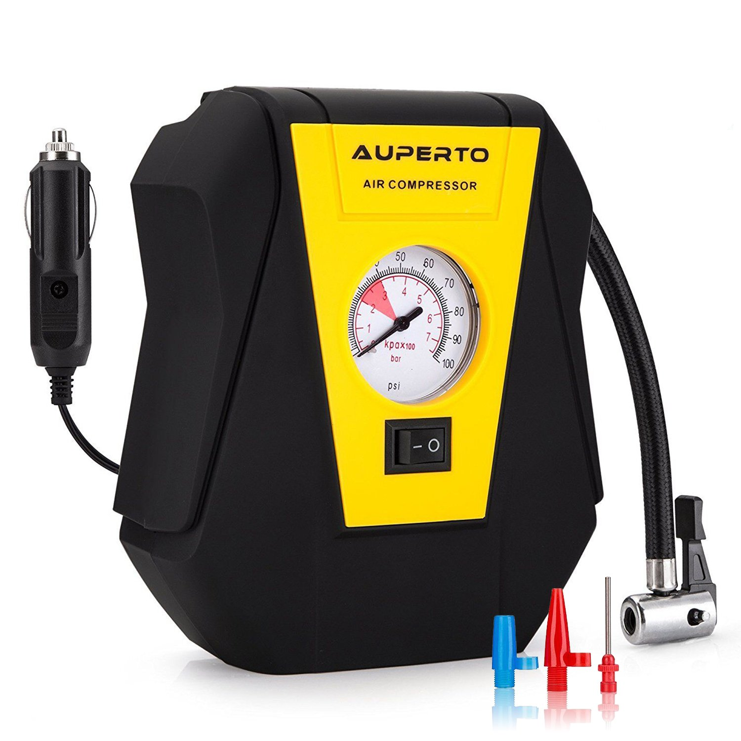 AUPERTO Portable Air Compressor,12V Tire Inflator with Gauge 100PSI for Cars, Bikes, Motorcycles and Inflatables