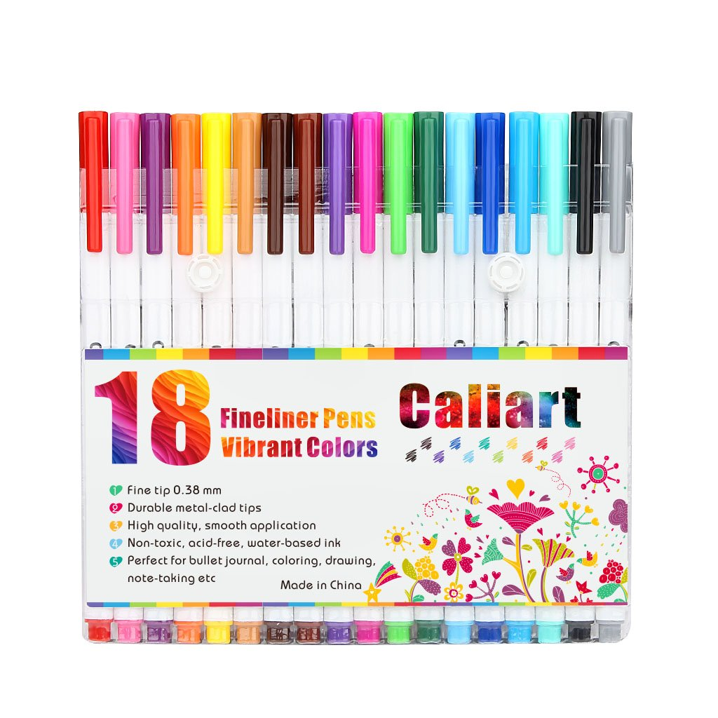 Caliart Fineliner Color Pens Set 100 Colors Fine line Drawing Pen Set, 0.38mm Fine Point Markers for Planner Drawing Writing Coloring Book Bullet Journal Art Projects