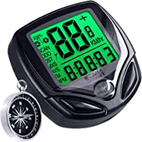 Water-proof Bike Computer with Compass, DLAND Wireless Bike Speedometer with Large LCD Display, Bicycle Odometer Cycling Stopwatch Mult Function.