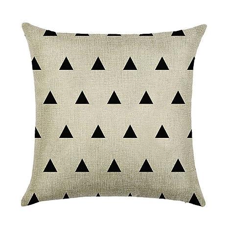 Hengjiang Funda de cojín geométrica de Color Blanco y Negro ...