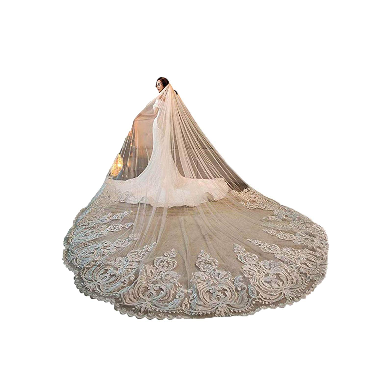Women's 3M 3.5M 4M 1T Lace Applique Chapel Cathedral Bridal Veil With Free Comb (Ivory, 4M Length) by Pretydress