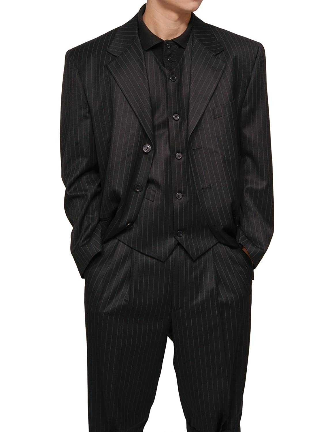 New Men's 3 Piece Black Gangster Pinstripe Dress Suit with ...