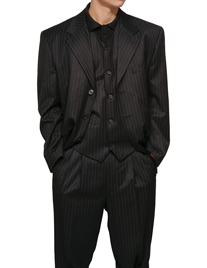 New 1940's Style Zoot Suits for Sale New Mens 3 Piece Black Gangster Pinstripe Dress Suit with Matching Vest $133.90 AT vintagedancer.com