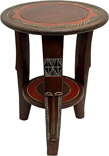 African Round Fanti Accent Table 20″ H x 15″ Diameter