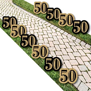 product image for Big Dot of Happiness Adult 50th Birthday - Gold Lawn Decorations - Outdoor Birthday Party Yard Decorations - 10 Piece