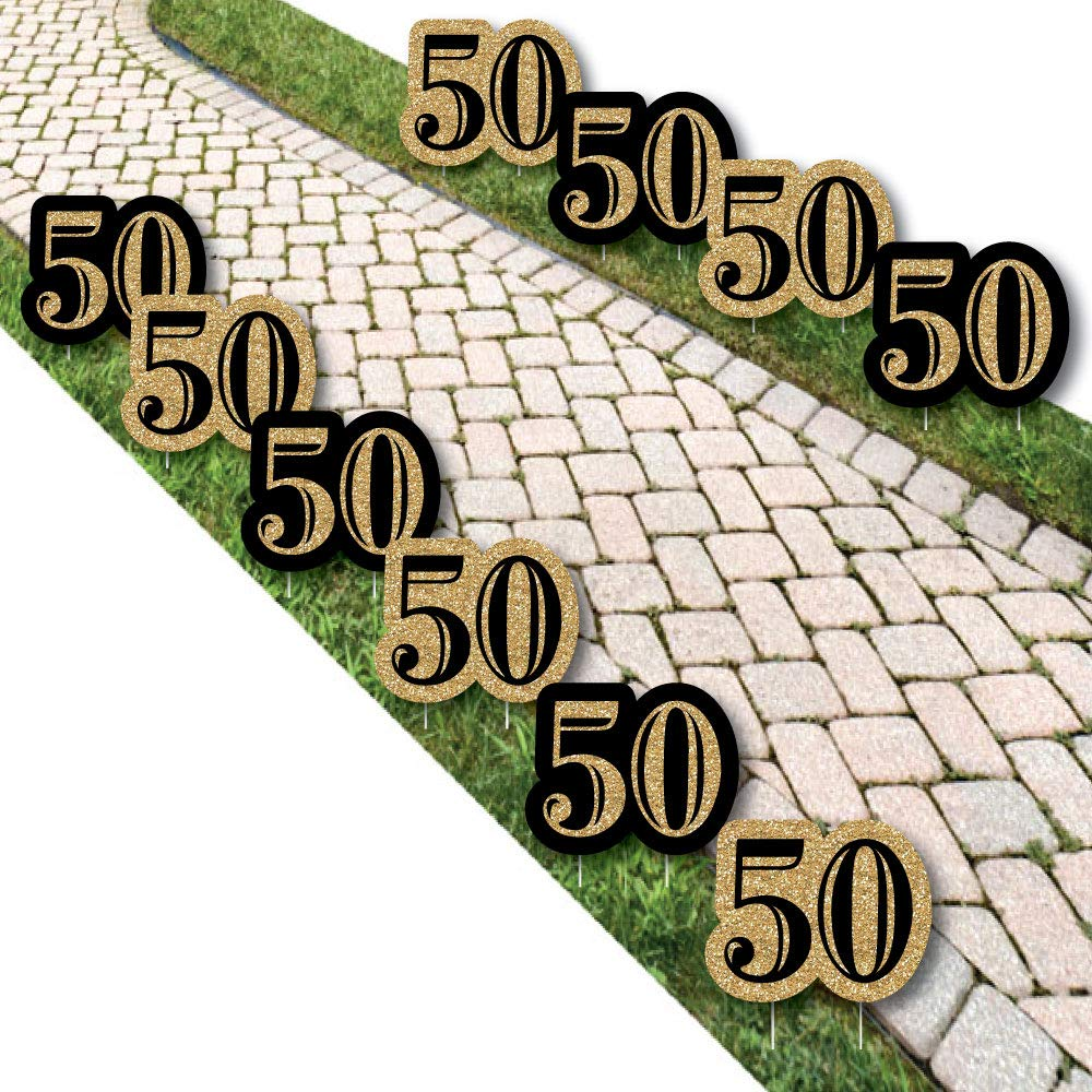 Adult 50th Birthday - Gold Lawn Decorations - Outdoor Birthday Party Yard Decorations - 10 Piece