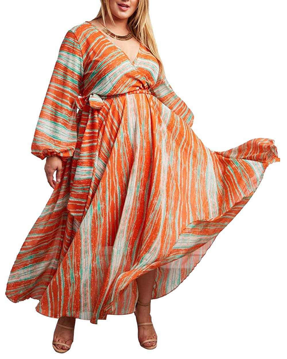 CACNCUT Women\'s Plus Size Maxi Dress Soft Flowing Waistband Printed Chiffon  Elegant