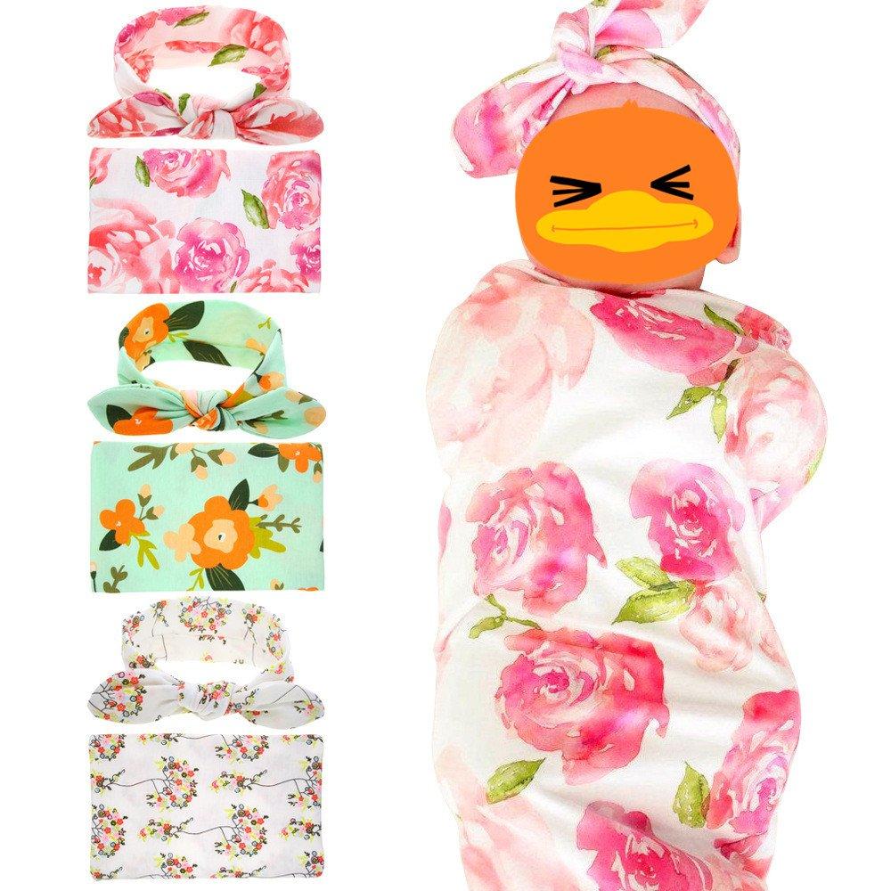 Fashion Swaddle Blanket Headband with Bow Receiving Blanket Set for Newborn baby Yzjcafriz