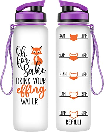 LEADO 32oz 1Liter Motivational Tracking Water Bottle w/ Time Marker - for Fox Sake Drink Your Effing Water - Funny Mothers Day, Birthday Gifts for Women, Mom, Wife, Daughter, Friend - Drink More Water