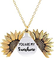 Zerywan Sunflower Open Locket Engraved Locket Necklace You are My Sunshine Pendant Necklace for Mom, Sister, Wife, Girlfriend