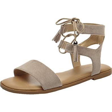 a99fc8f551482 Women's Wide Width Flat Sandals - Comfortable Lace up Fringed Tassel Ankle  Strap Suede Dress Shoes.