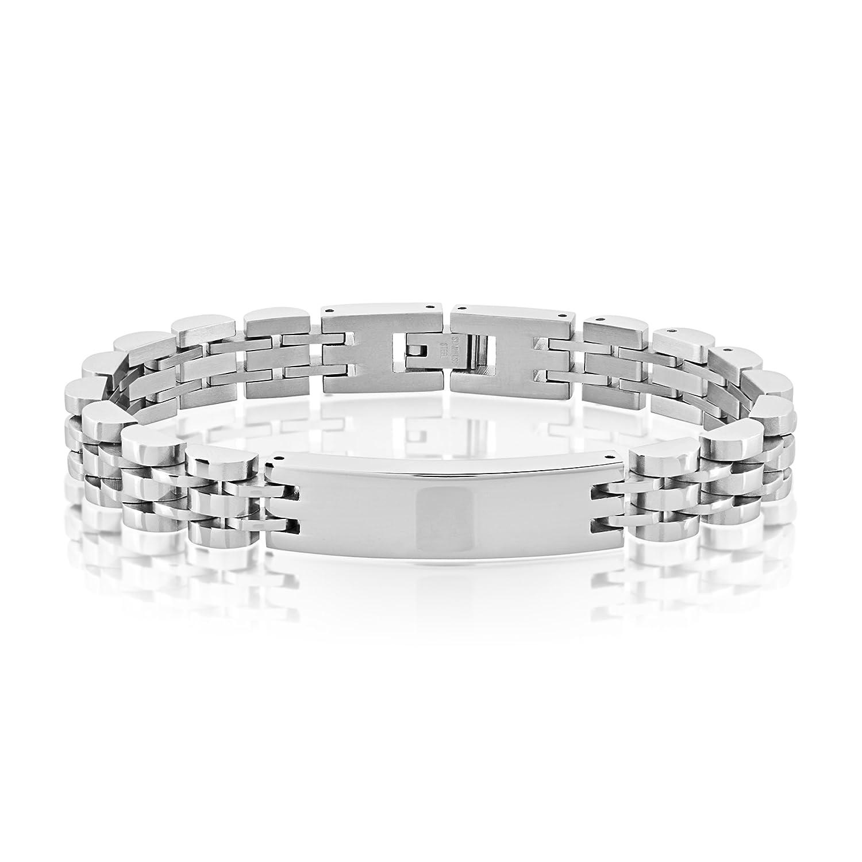 Crucible High Polish Stainless Steel Half Moon Link ID Bracelet (10mm) - 8.5' West Coast Jewelry WCJ-B6540
