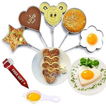 Huevo frito moldes Set de 5 piezas para niños de acero inoxidable Anillo Pancake Sartén de cocina antiadherente en regalo de separador de huevo para cocina: ...