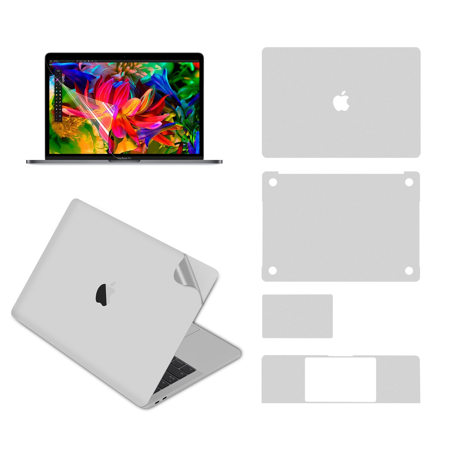 LENTION Full Body Stickers Compatible MacBook Pro (13-inch, 2016-2018 Thunderbolt 3 Ports), Full-Cover Protective Vinyl Decal Skin (Top/Bottom/Touchpad/Palm Rest) + Screen Protector (Silver)