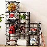 KOUSI Storage Cubes Wire Grid Modular Metal Cubbies Organizer Bookcases and Book Shelves Origami MultiFuncation Shelving Unit, Capacious & Customizable, Black, 9T Cubes