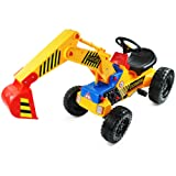 Oypla Childrens Pedal Ride on Yellow Super Kids Mini Digger Excavator Farm Tractor