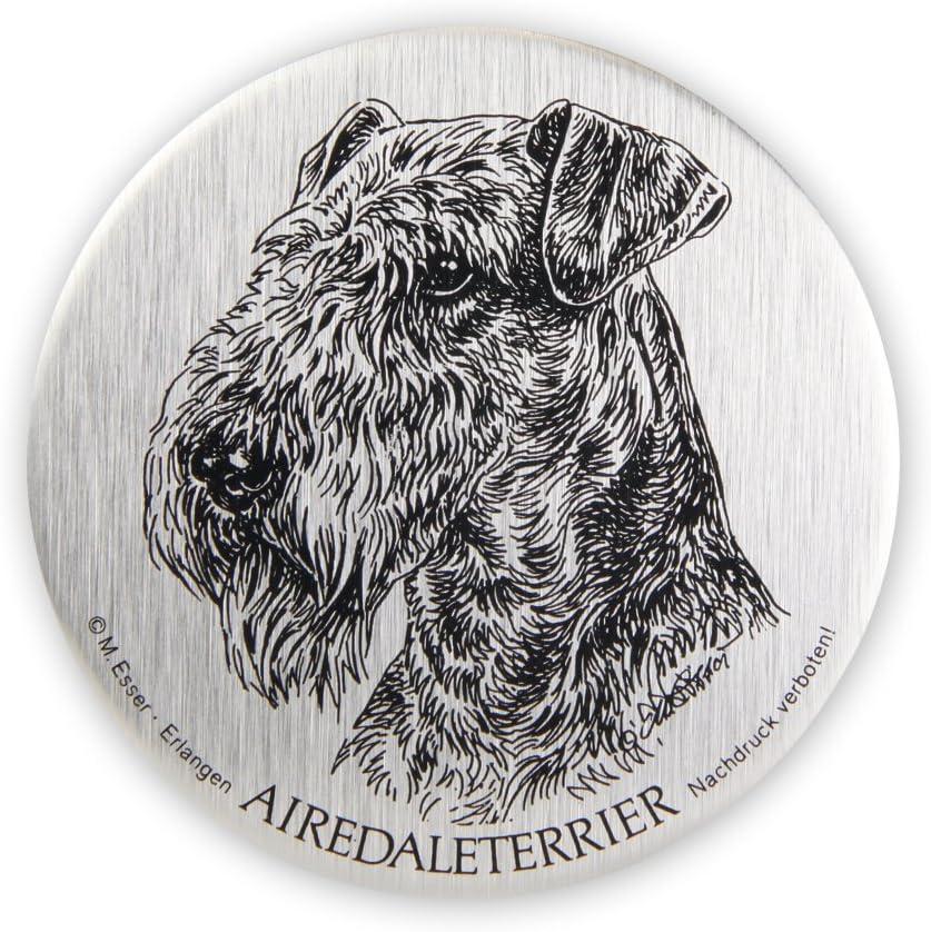 Schecker M Esser Metallplaketten Airdale Terrier Selbstklebend Wetterfest Autoaufkleber Esser Haustier