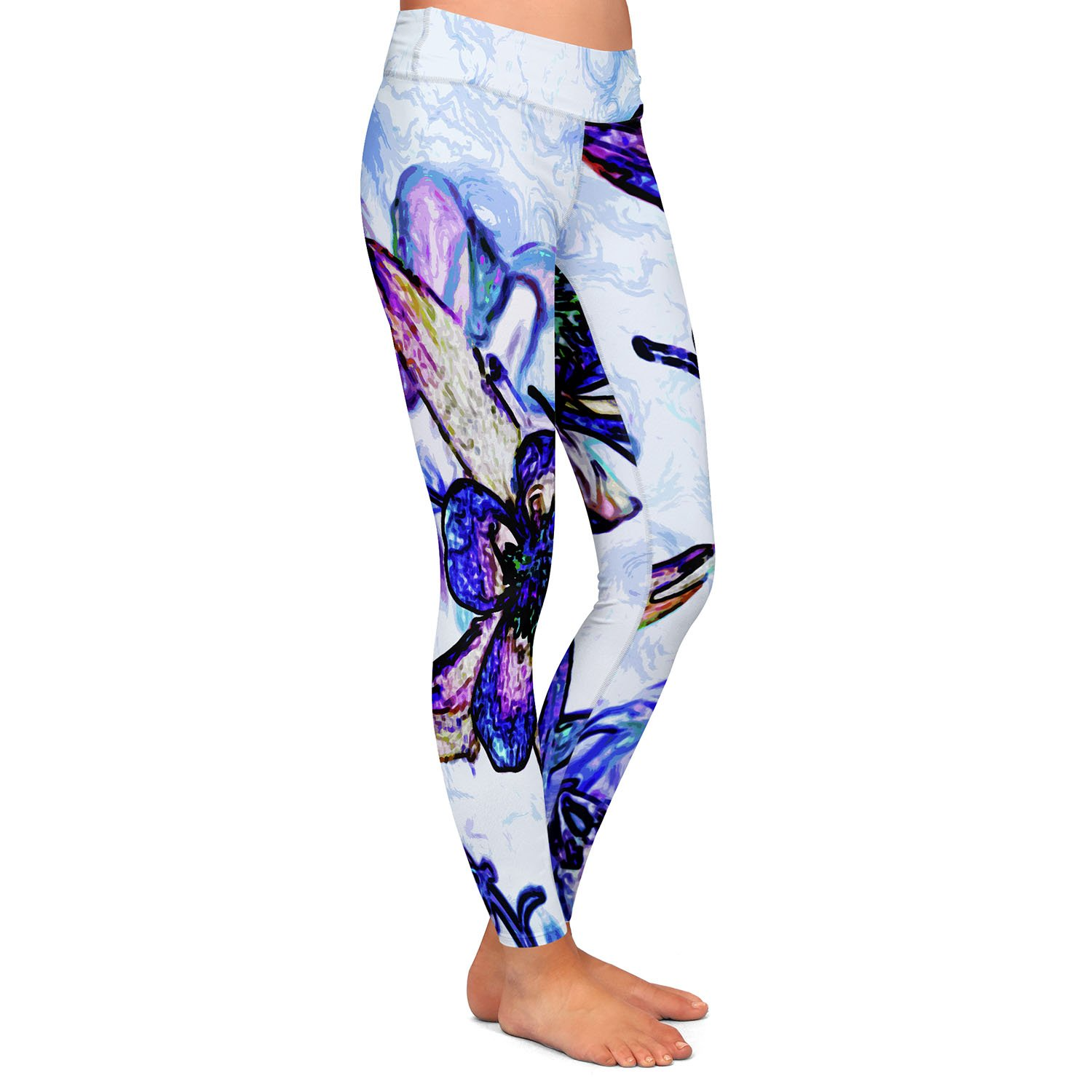 Athletic Yoga Leggings from DiaNoche Designs by Angelina Vick Poetry Motion Blue