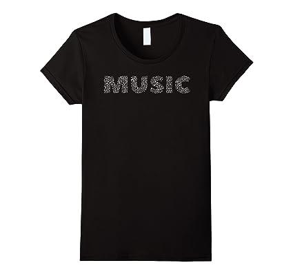 Womens Music Notes Beats Symbol White Text Art Word Cloud T Shirt