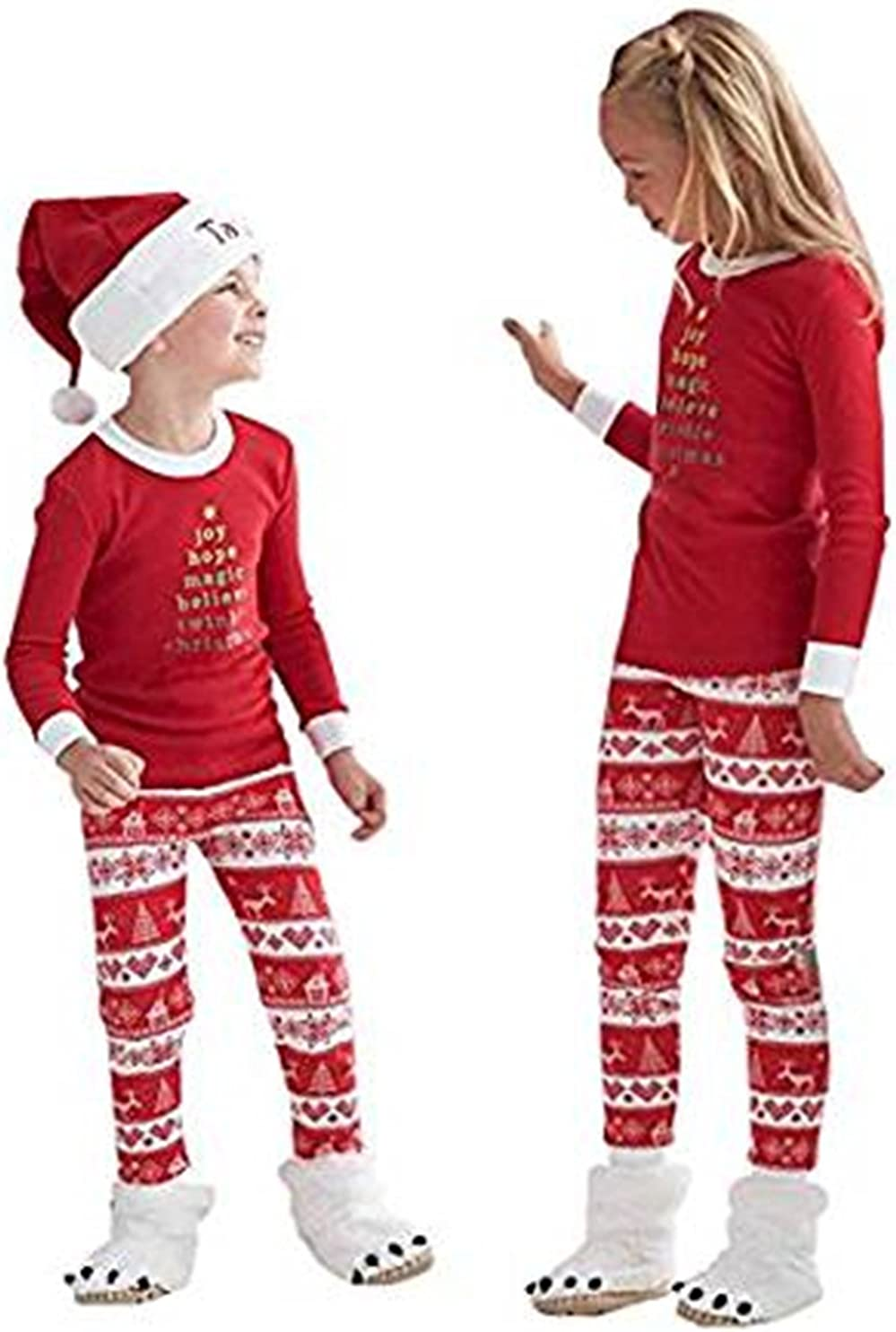 Q/&Y Holiday Stripe Matching Family Christmas Pajamas Set Homewear Outfits
